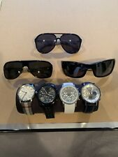 Lot Of 7 Accessories Mens Watches And Glasses( Gucci, D&G, Burberry Etc)+ Case