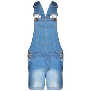 Bambine Salopette Pantaloncini Luce Blu Denim Elasticizzato Tuta 5-13 Anni