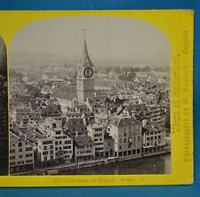 1860s Suisse Stereoview 167 Panorama De Zurich Alpine Club William England