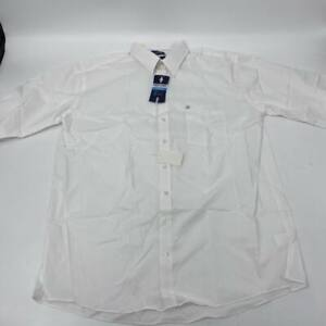 New Stafford mens Travel Easy Care Broadcloth Sz 18,5 X-tall shirt white W506