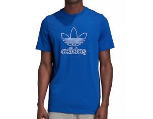 adidas Originals T Shirt Mens New Outline Trefoil Short Sleeve Tee Royal Blue