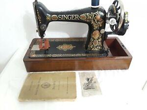 Antique SINGER 66-1 Sewing Machine manual+hand crank+needle threader (q242)p2