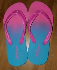 Tommy Hilfiger Girls' Sequin Flip Flops Pink/Turquoise Blue Size 12/13 EUC!
