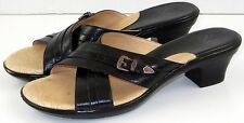 Sofft Sandals 8.5 M Black Womens Shoes Leather Slides Cross Strap Buckle