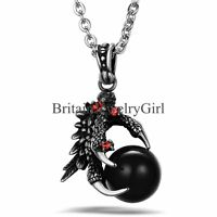 """Mens Vintage Gothic Biker Stainless Steel Dragon Claw Pendant Chain Necklace 22"""""""