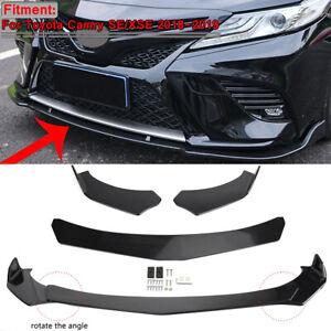 Front Bumper Lip Body Kit Lower Spoiler Splitters Glossy Black For Toyota Camry