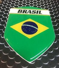 "Brazil Brasil  Proud Shield Flag Domed Decal Emblem Sticker Car 3D 2.3""x 3.3"