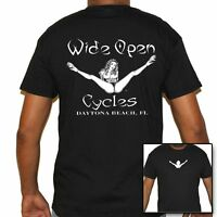 T Shirt Wide open cycles Shirt Skull Motorcycle no Harley Stripper funny