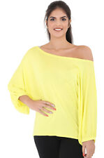Womens off Shoulder Batwing Top Ladies Jumper Jersey Casual Loose Baggy T Shirt Yellow L/xl 16