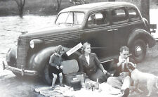 "1938 Chevrolet 4 door with family 12 By 18"" Black & White Picture  Poster Style"