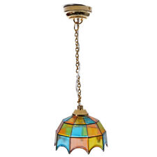 Metal 1:12 Dollhouse Miniature Ceiling Lamp Model with Multicolor Umbrella S8B4