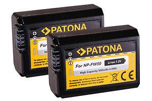 2 x AKKU für Sony alpha a6000 a6100 a6300 a6400 a6500 NP-FW50 NPFW50 - Patona -