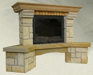 Kaminverkleidung MAJA mit Sandstein gerade / Eck Modell für Kamin Heiz Einsatz