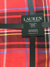 "Ralph Lauren Tablecloth Baker Plaid Red 60"" x 84"" NEW Christmas Tablecloth"