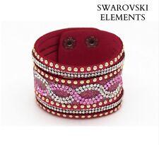 Manchette bracelet Swarovski® Elements  cuir souple ROSE FUSHIA cristal incolore