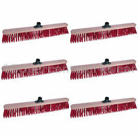 """6 x Prodec 24"""" Synthetic Stiff Bristle Sweeping Broom Head Brush Floor Cleaning"""