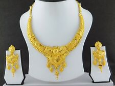 Indian Fashion Jewelry Necklace Set Gold Plated Bollywood Wedding Earrings Set