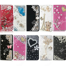 For iPhone X 8 Plus Bling Diamond Leather Flip Wallet Case Cover For S9/S9 Plus