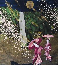 "ETHEREAL GEISHA LANDSCAPE:  ASIAN JAPANESE QUILT FABRIC PANEL 22"" X 24"""