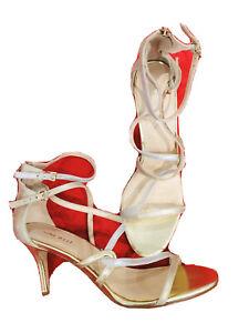 Nine West Size 9.5 Women Shoes High Heel 3.5 In Strap Metallic Gold