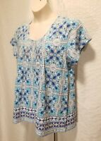New Charter Club Women's Plus Size 1X Blue Embroidered Short Sleeve Top Blouse