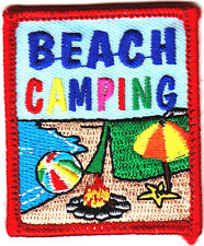 """""""BEACH CAMPING""""-Iron On Embroidered Applique Patch-Trip,Vacation, Beach"""