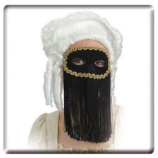 Loup domino noir avec longues franges galon or [01245] masque noir et or theatre