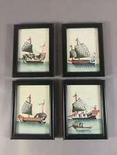 4 SMALL ANTIQUE CHINESE PAINTINGS ON RICE PAPER PITH PAPER WITH BOATS