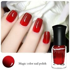 6ml Thermal Nail Art Polish Varnish Color Changing Peel Off Wine Red to Red