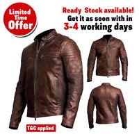 Men's Biker Vintage Cafe Racer Motorcycle Distressed Brown Leather Jacket, UK/US