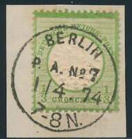 D.Reich Nr. 17 gestempelt/Briefstück K1 BERLIN P.A. No. 7 vom 1/4 74 (39339)