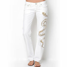 REPLAY Classic Fit Studded Bling Cotton Snake Design White Jeans Pants - Size 28