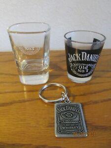 "LOT OF 2 ~ JACK DANIEL'S SHOT GLASSES & 1 Key Chain ~ All  ""OLD NO 7"""