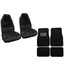 New Car Truck Synthetic Sheepskin Seat Covers & Carpet Floor Mats Black Set