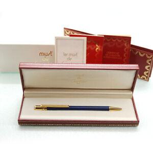 Rare color!! Must De Cartier Ballpoint pen  Blue Lacquer x Gold With Box
