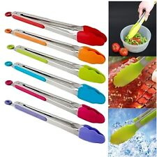 Silicone Cooking Tongs Stainless Steel Kitchen Food Bread Salad Barbecue Toolnb