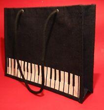Jute Keyboard Design Music Book Bag Musician Teacher Student Practical Gift NEW