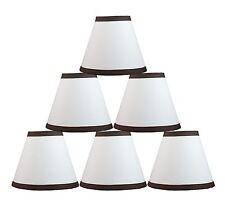 "Urbanest White Cotton w/ Coffee Trim Chandelier Mini Lamp Shade,3x6x5"" Set of 6"