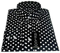 Black Polka Dot Men's Shirt Classic Design - 100% Cotton  Relco sizes S - 3XL