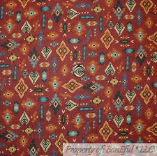 BonEful FABRIC Cotton Quilt Red Maroon Black Blue Southwest Print Pattern SCRAP