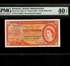 Bermuda 5 Pounds 1966 P-21d * PMG XF 40 EPQ * Queen Elizabeth *