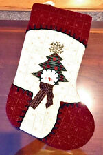 """Snowman Face with scarf, in front of Xmas tree Stocking 18"""" ."""