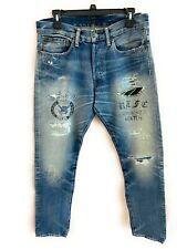 Ralph Lauren Polo Men Denim Graphic Skull & Crown Match Jeans Patch 32x32