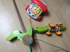 Hape Nachzieh Krokodil Croc Ziehtier Holz Spielzeug Goki Schiebetier & Telefon