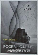 PUBLICITE ROGER & GALLET PARFUM LE JADE JEAN MARIE FARINA DE 1929 FRENCH AD RARE