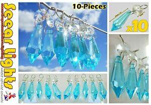 10 AQUA TORPEDO DROPLETS CHANDELIER CUT GLASS CRYSTALS DROPS WEDDING PRISM BEADS