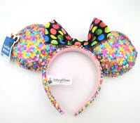 Disney Parks New Party Minnie Mouse Ears Multicolor Sequins Mickey Cos Headband