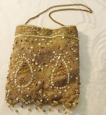 EXQUISITE 20S ACCESSORIZE EVENING BAG TAUPE BEADS SEQUINS CHAIN HANDLE SMALL