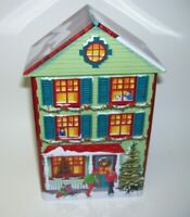 Green Two Story House Tin box