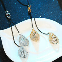 Novelty Rhinestone Leaf Pendant Necklace Long Chain Sweater Jewelry For Women